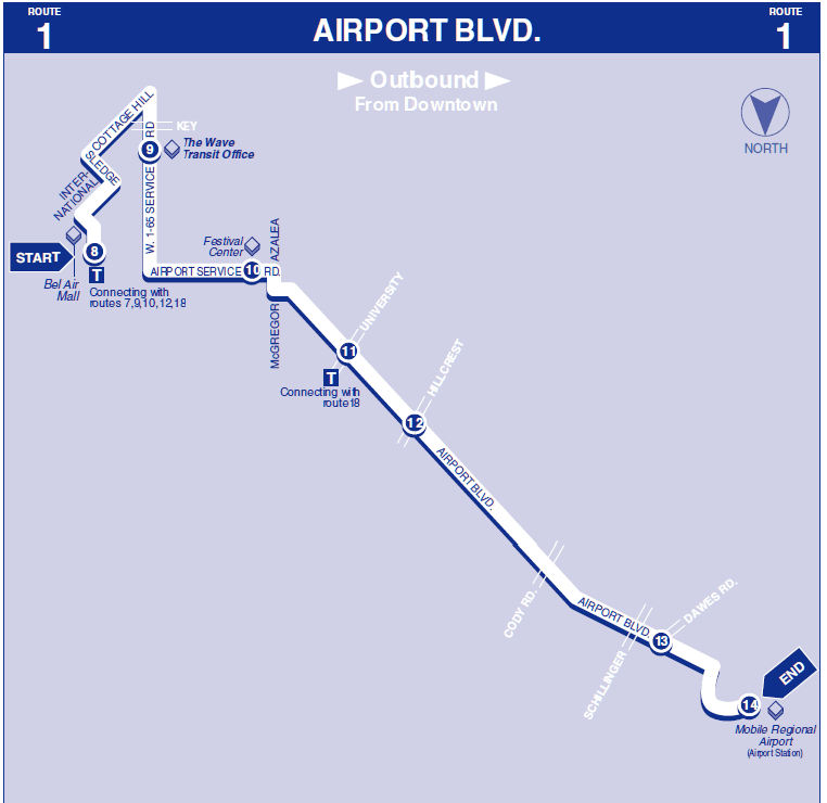 Airport Blvd Outbound map