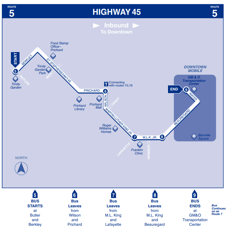 Highway 45 Inbound map