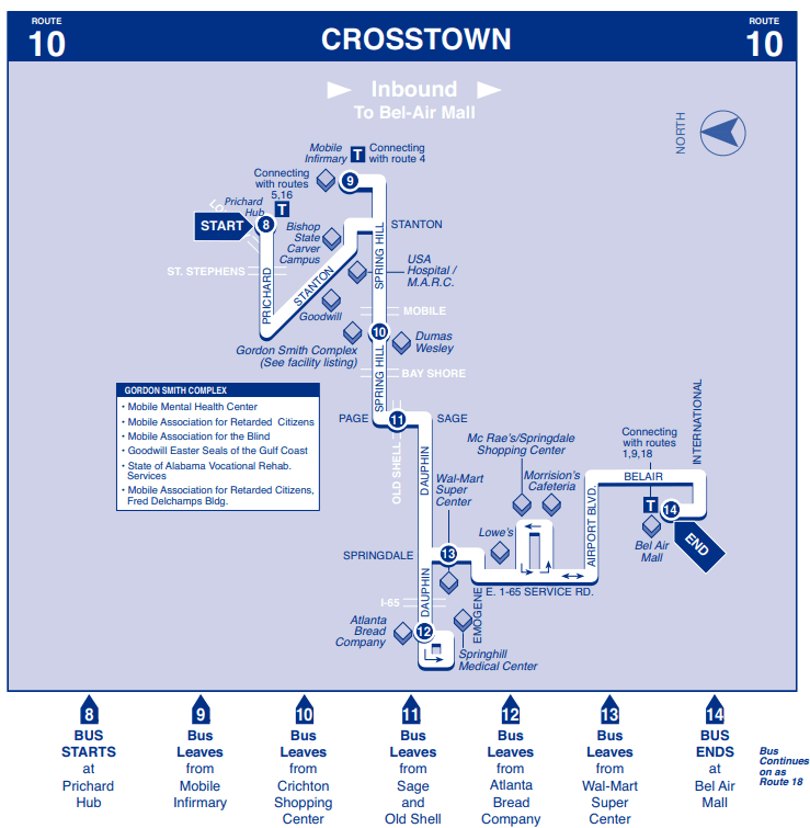 Crosstown Inbound Map