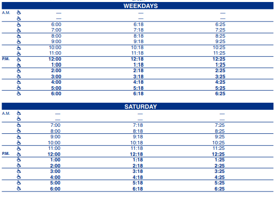 Plateau Prichard Outbound Schedule