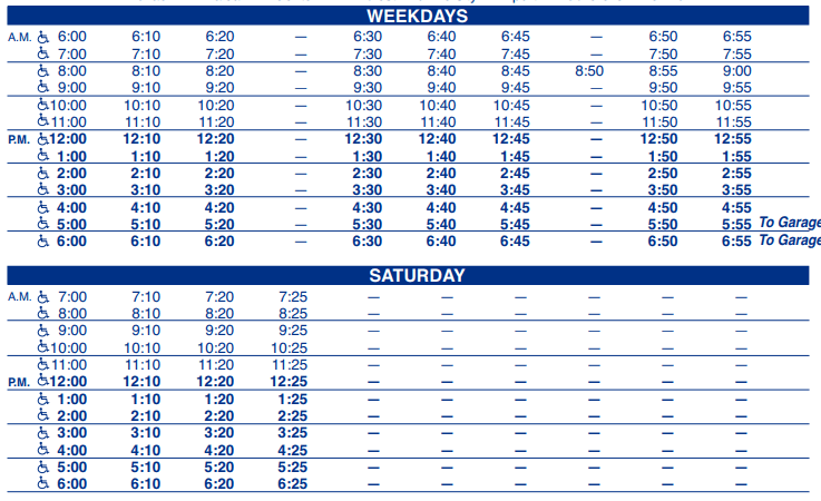 Cottage Hill USA Outbound Schedule